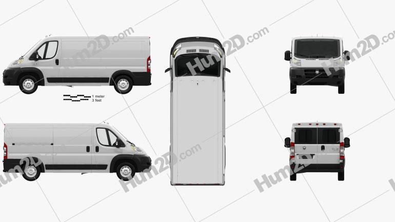Dodge Ram ProMaster Cargo Van L2H1 with HQ interior 2013 clipart