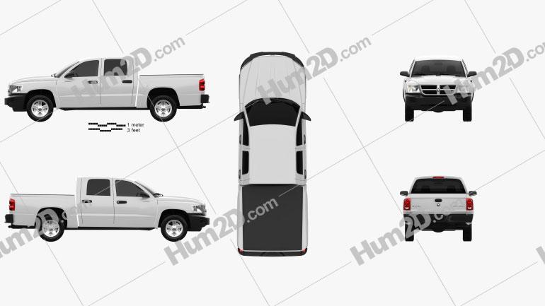Dodge Dakota Crew Cab 2007 Clipart Image