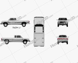 Dodge Ram Club Cab 1991 car clipart
