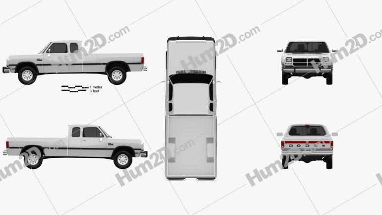 Dodge Ram Club Cab 1991 Clipart Image