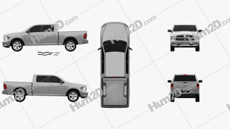 Dodge Ram 1500 Crew Cab Big Horn 2017 car clipart