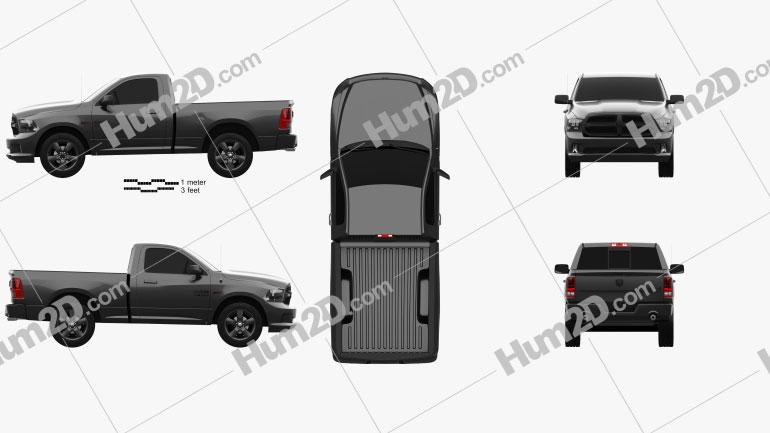 Dodge Ram 1500 Regular Cab Express Blackline 2017 car clipart