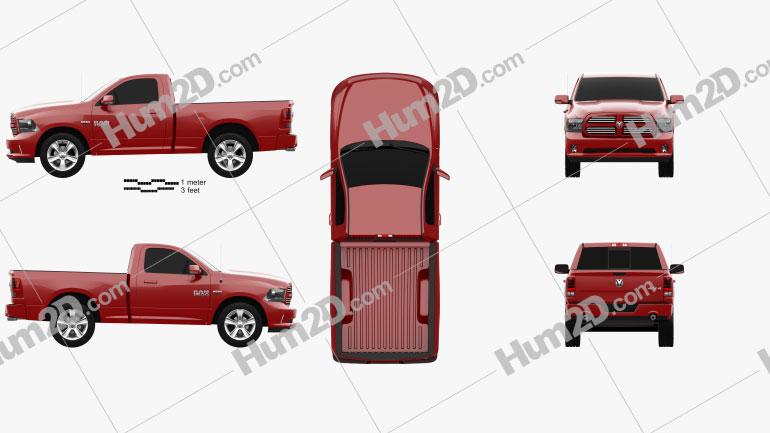 Dodge Ram 1500 Regular Cab Sports 2017 Clipart Image