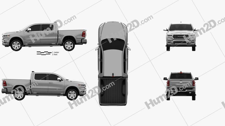 Dodge Ram 1500 Crew Cab Laramie Longhorn 5-foot 7-inch Box 2019 car clipart