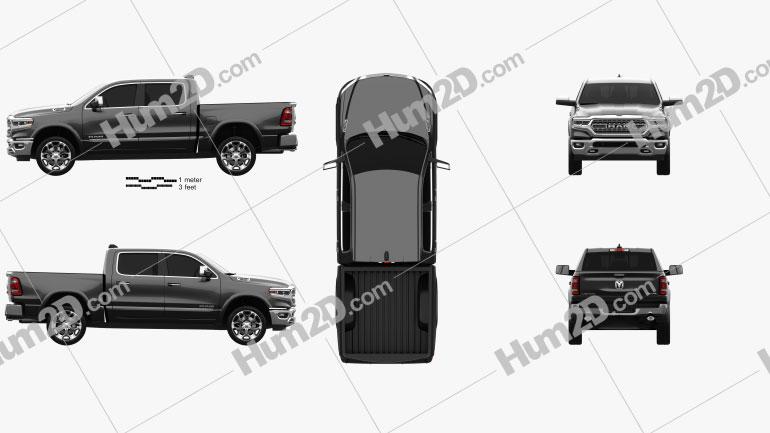 Dodge Ram 1500 Crew Cab Limited 5-foot 7-inch Box 2019 Clipart Bild
