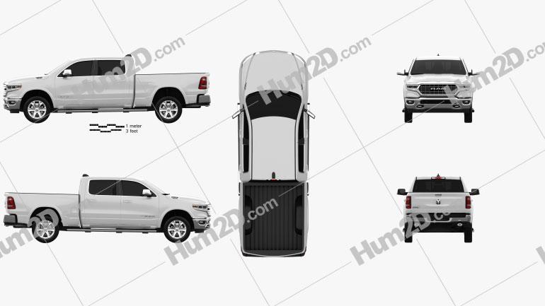 Dodge Ram 1500 Crew Cab Laramie Longhorn 6-foot 4-inch Box 2019 Clipart Image