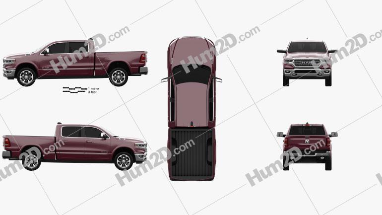 Dodge Ram 1500 Crew Cab 6-foot 4-inch Box Limited 2019 car clipart