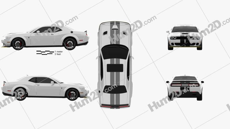 Dodge Challenger SRT Hellcat Wide Body 2018 car clipart