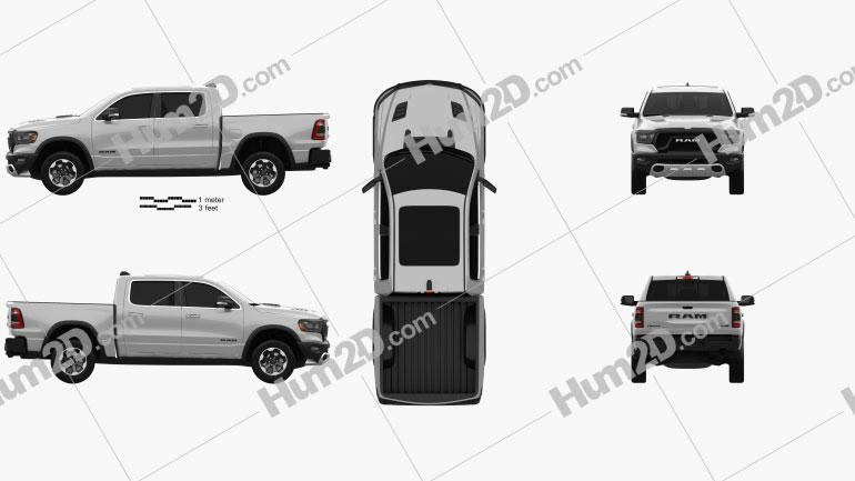 Dodge Ram 1500 Crew Cab Rebel 5-foot 7-inch Box 2019 car clipart