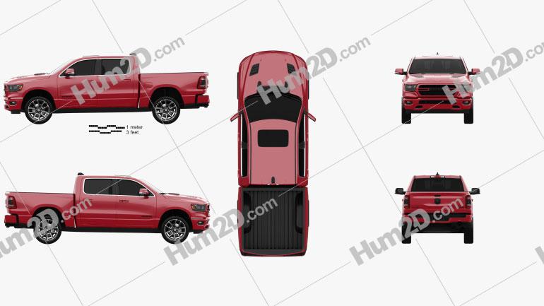 Dodge Ram 1500 Crew Cab Sport 5-foot 7-inch Box 2019 car clipart