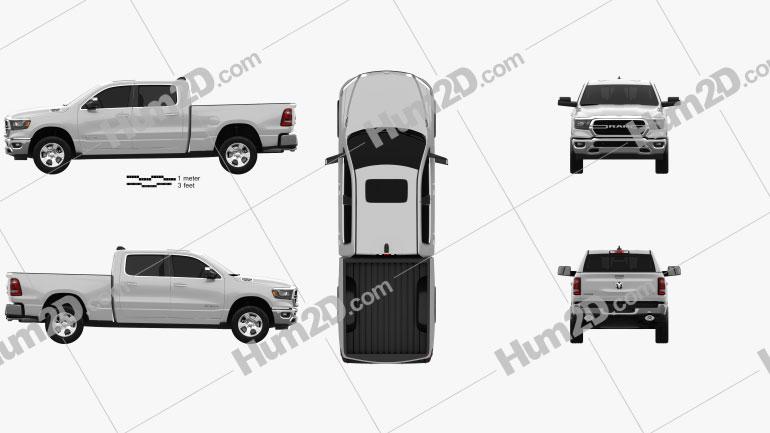Dodge Ram 1500 Quad Cab Big Horn 6-foot 4-inch Box 2019 car clipart