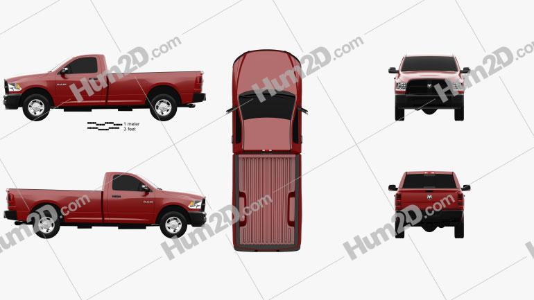 Dodge Ram 3500 Regular Cab pickup 2014 Clipart Image