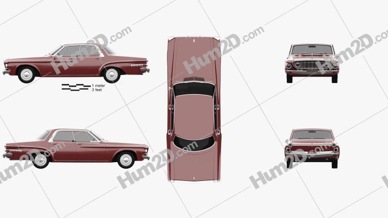 Dodge Dart 440 hardtop sedan 1962 car clipart