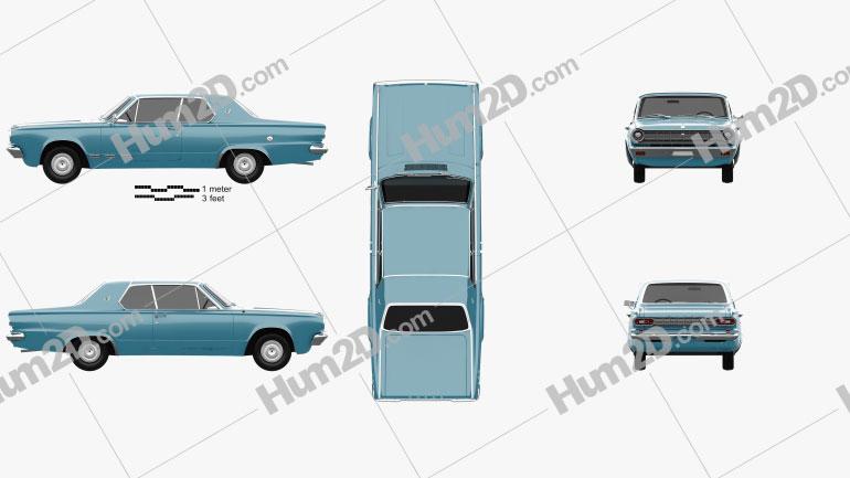 Dodge Dart GT hardtop coupe 1965 car clipart