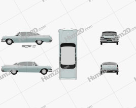Dodge Coronet 4-door sedan 1957 car clipart