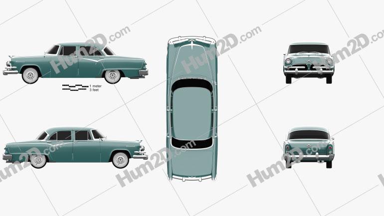 Dodge Coronet 4-door sedan 1955 car clipart