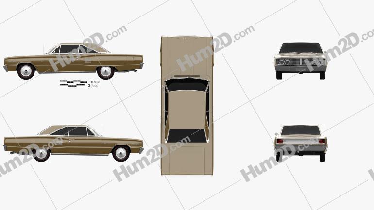 Dodge Coronet 500 hardtop 2-door 1966 Clipart Image