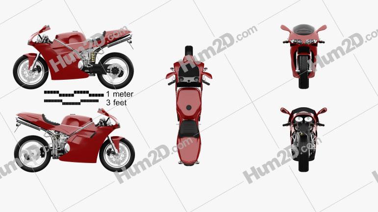 Ducati 748 Sport Bike Clipart Image