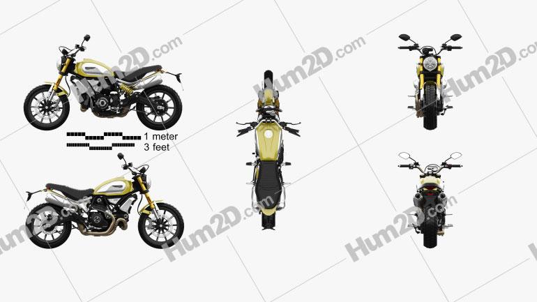 Ducati Scrambler 1100 2018 Motorcycle clipart