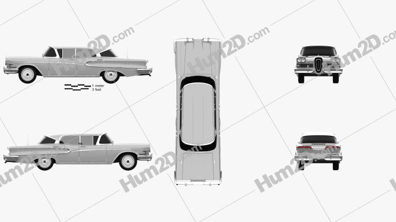 Edsel Ranger sedan 1958 Clipart Image