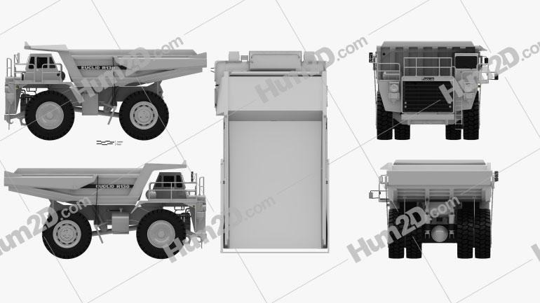 Euclid R130 Dump Truck 1991 clipart