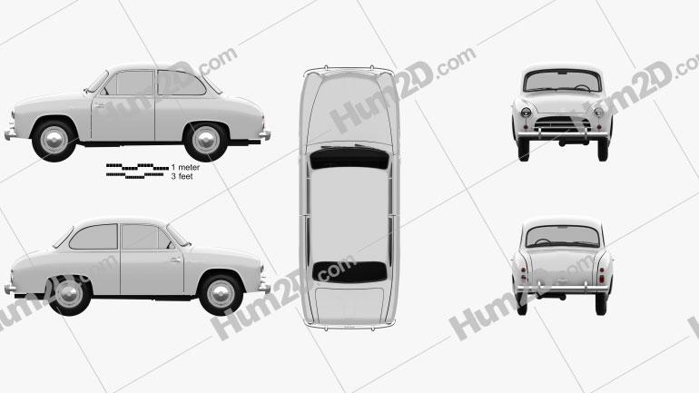 FSO Syrena 100 1955 car clipart