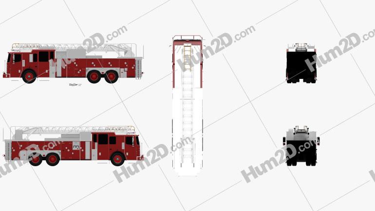 Ferrara Ultra HD-100 Rear Mount Aerial Ladder Firetruck 2013