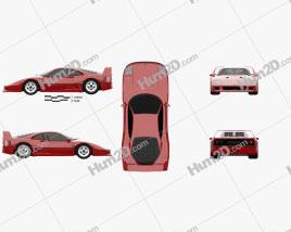 Ferrari F40 1987 Red car clipart