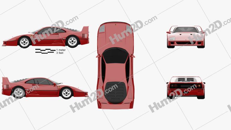 Ferrari F40 1987 Clipart Image