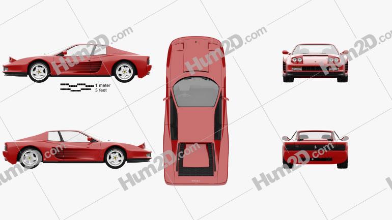 Ferrari Testarossa 1986 Clipart Image