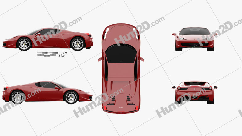 Ferrari 458 Spider 2010 car clipart