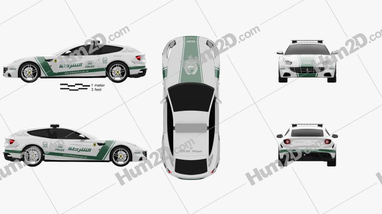 Ferrari FF Police Dubai 2013 car clipart