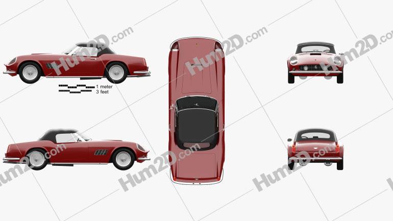Ferrari 250 GT California SWB Spyder with HQ interior 1958 car clipart