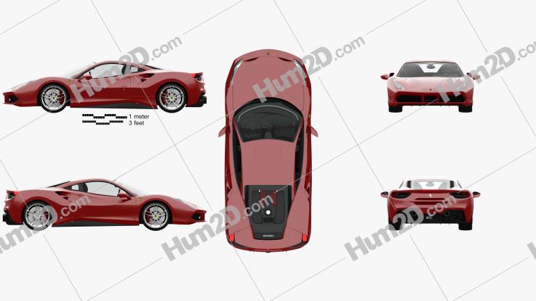 Ferrari 488 GTB with HQ interior 2016 car clipart