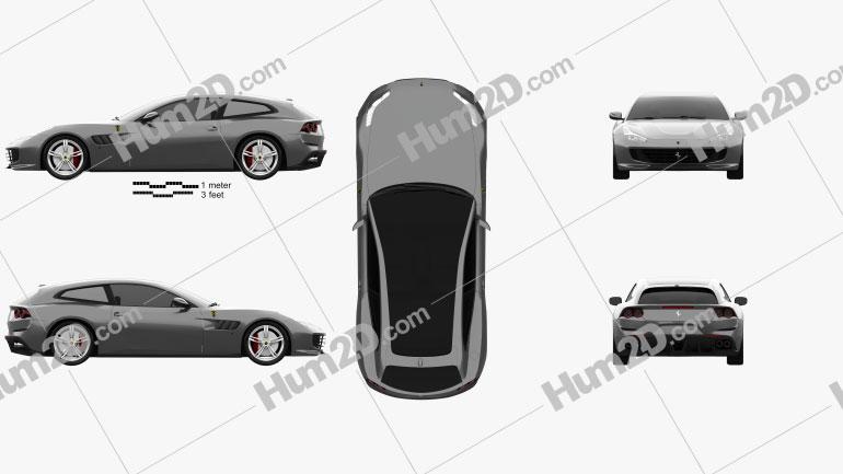 Ferrari GTC4Lusso 2017 car clipart