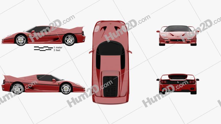 Ferrari F50 1995 car clipart
