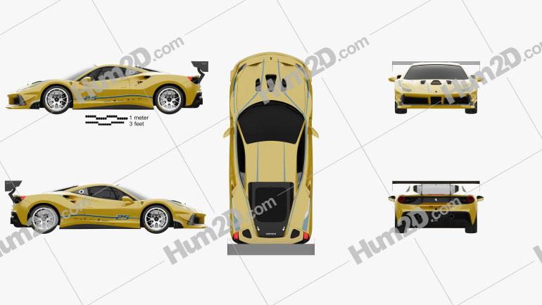 Ferrari 488 GTB Challenge 2017 car clipart