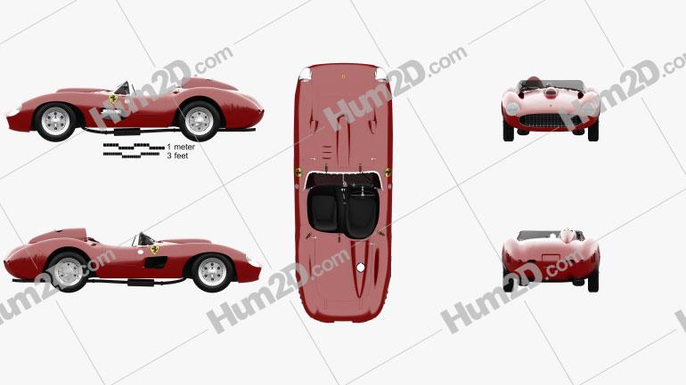 Ferrari 335 S Spider Scaglietti 1957 car clipart
