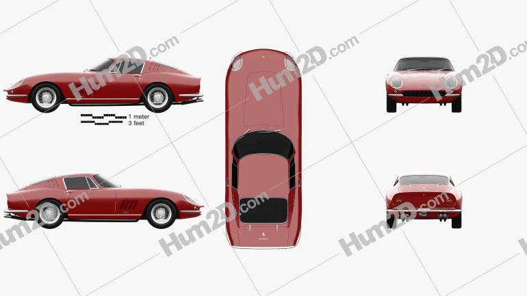 Ferrari 275 GTB4 1966 Clipart Image