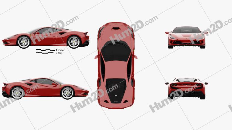 Ferrari F8 Tributo 2019 car clipart