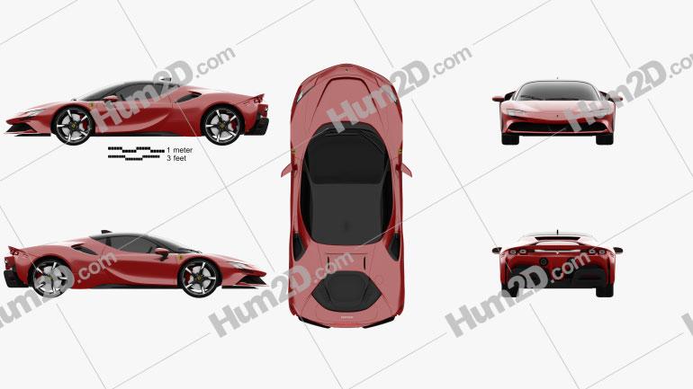 Ferrari SF90 Stradale 2020 car clipart