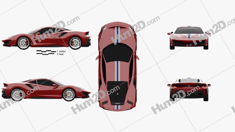 Ferrari 488 Pista 2018 Clipart Image