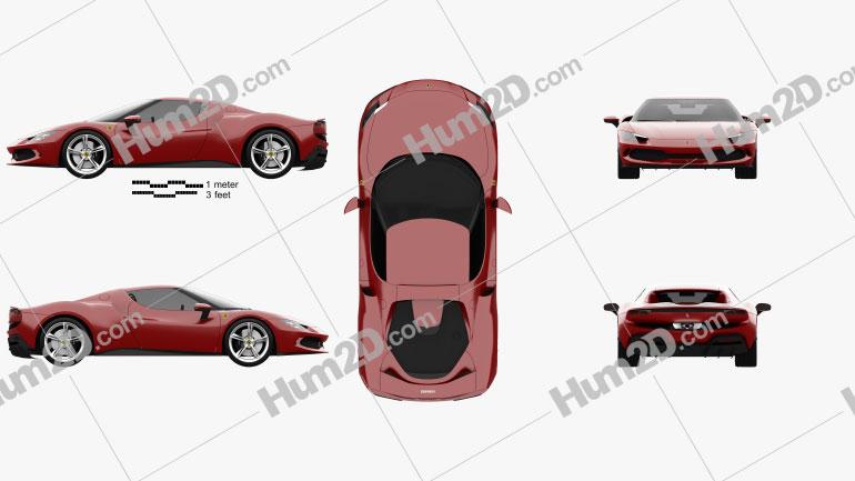 Ferrari 296 GTB 2021 car clipart