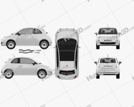 Fiat 500 2010 car clipart