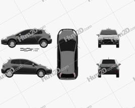 Fiat Punto Evo 3-door 2010 car clipart