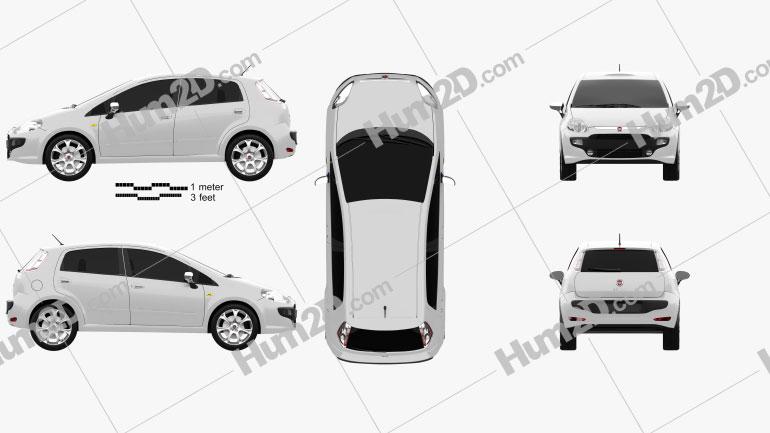 Fiat Punto Evo 5-door 2010 Clipart Image
