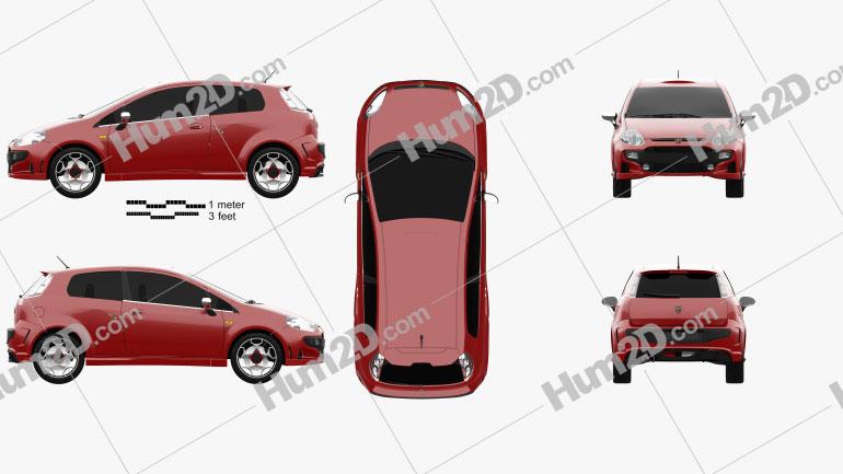 Fiat Punto Evo Abarth 2011 Clipart Image