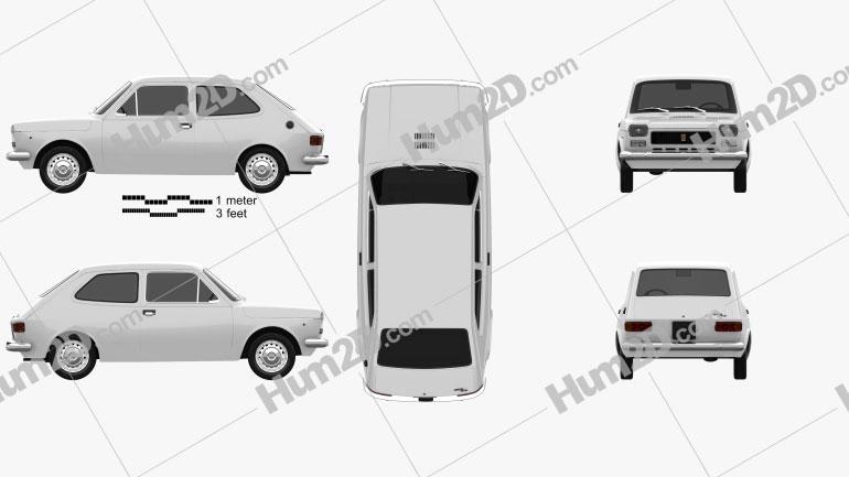 Fiat 127 1975 Clipart Image