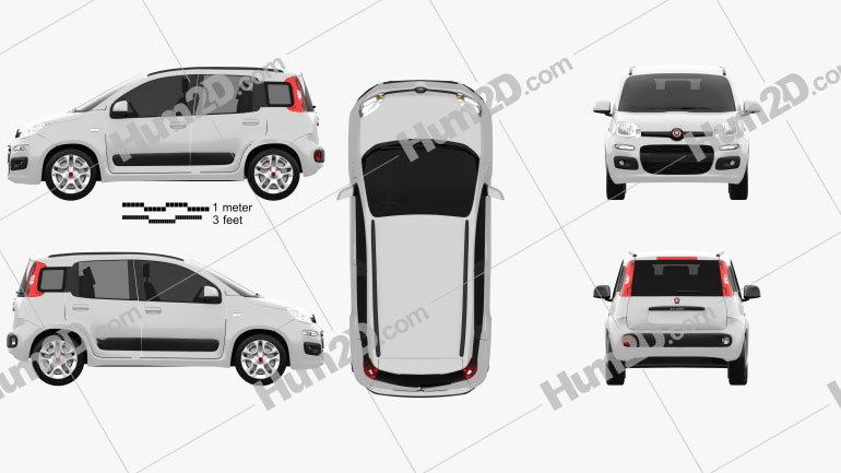 Fiat Panda 2012 Clipart Image