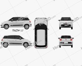 Fiat 500L 2013 car clipart